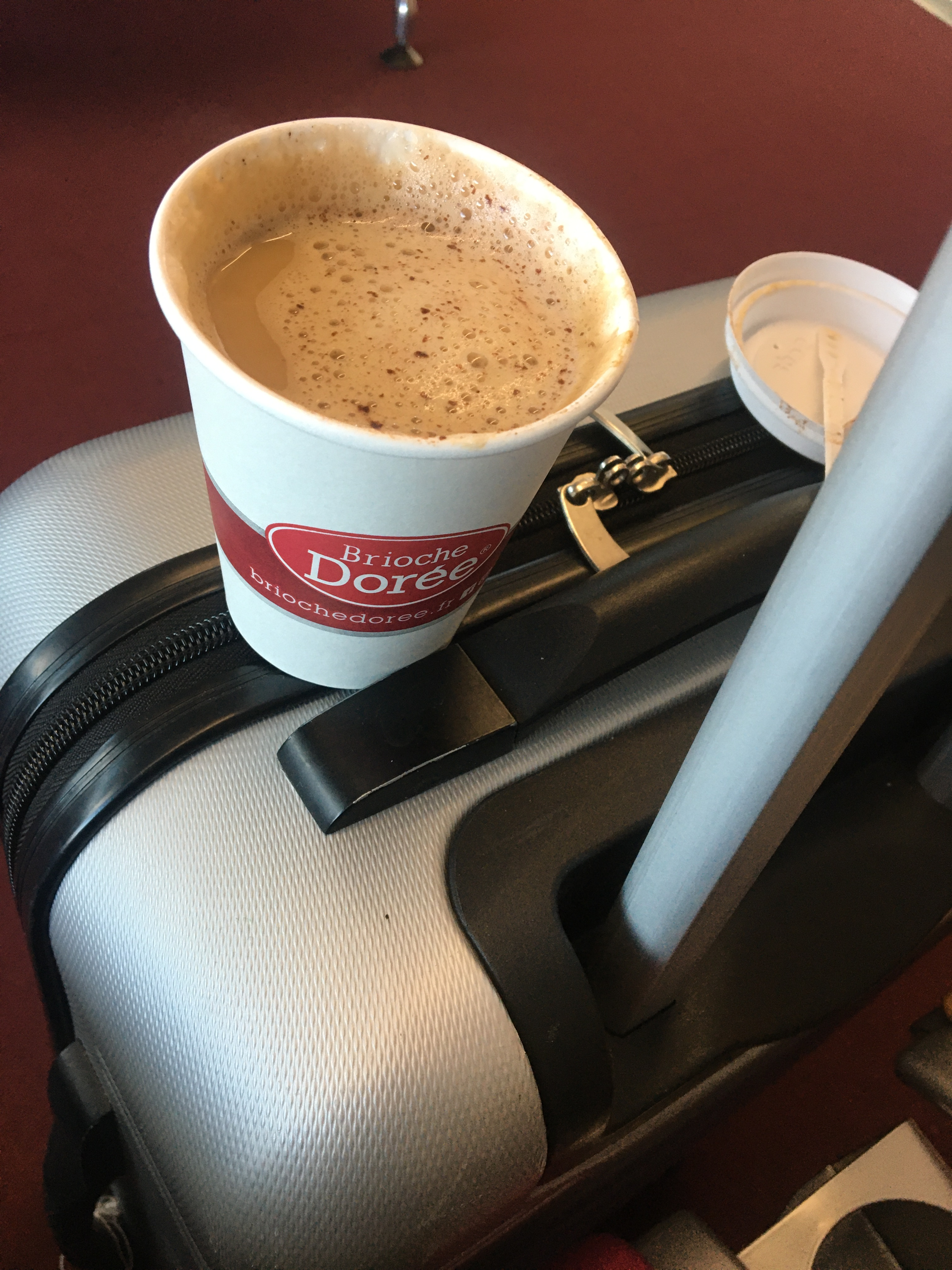 Cappuccino on travel bag at the airport